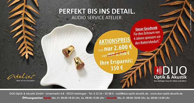 EINFACH DAS BESTE WÄHLEN. AUDIO SERVICE ATELIER. Jeder Mensch hat seine eigenen, individuellen Ansprüche an ein Hörsystem, die kaum unterschiedlicher sein könnten.  Die Hörgeräte der Atelier-EDITION der Firma Audio Service sind hochwertige Im-Ohr-Hörsysteme, die höchste Ansprüche an kosmetischer Unauffälligkeit und technischer Ausstattung erfüllen.  Zu diesen einzigartigen Hörgeräten bieten wir unseren exklusiven Atelier-SERVICE, den wir Ihnen gerne im Detail… Mehr lesen…