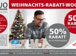 WEIHNACHTS-RABATT-WOCHEN Die besinnliche und frohe Weihnachtszeit beginnt. Eine Zeit, in der wir liebe Menschen gerne beschenken.  Deshalb bedanken wir uns bei unseren Kunden mit einem 50 % Rabatt* auf alle Essilor Gleitsicht- und Einstärkengläser. Inklusive:   Professionellem Sehtest  Brillenversicherung  Verträglichkeitsgarantie    *gültig vom 15.11.2018 bis 22.12.2018 auf Markengläser von Essilor; inkl. MwSt.; zzgl. Einarbeitungskosten bei eigener… Mehr lesen…